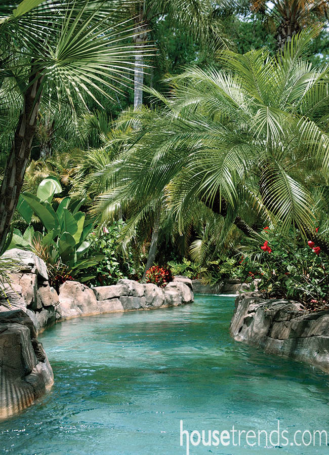 Lazy river surrounds a swimming pool