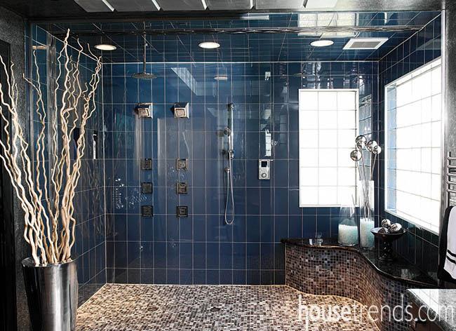 Glass tile finishes off a shower design