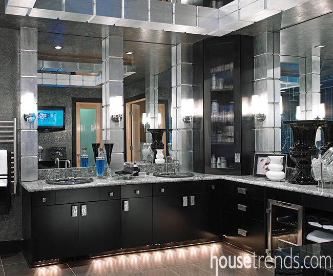 Cabinetry embellished by track lighting