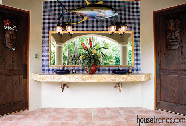 Tile backsplash calls attention to outdoor powder room