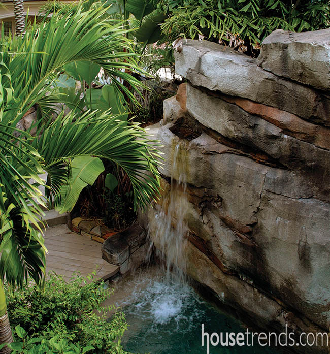 Waterfalls provide soothing backdrop for outdoor living space