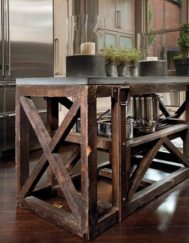 Kitchen island serves as a rustic contrast