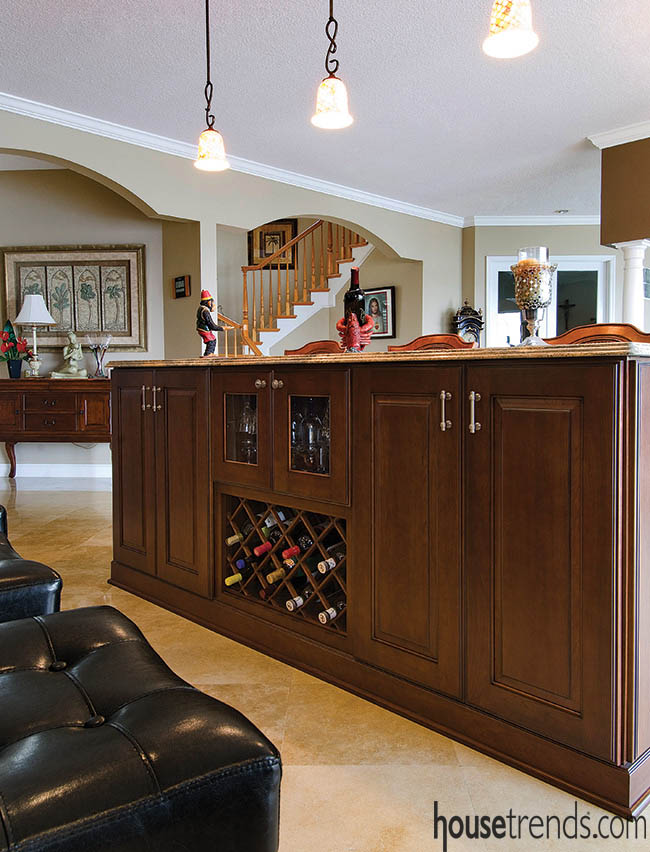Home bar offers designated space for wine storage