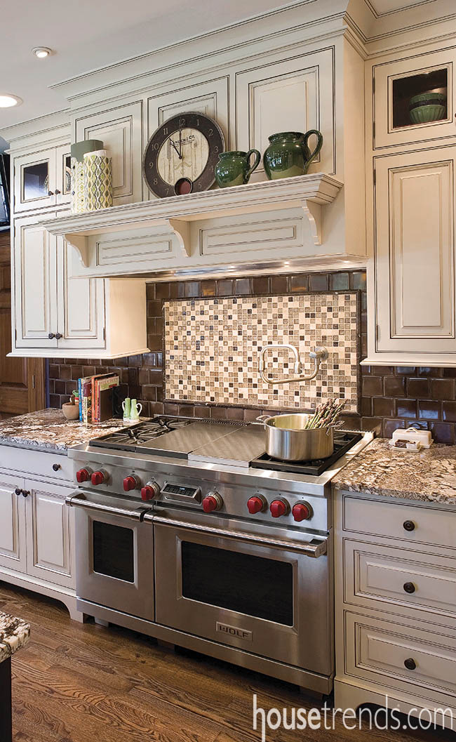 Varying materials create a unique kitchen backsplash