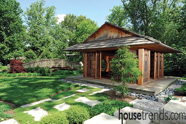 Garden stones support a tea house