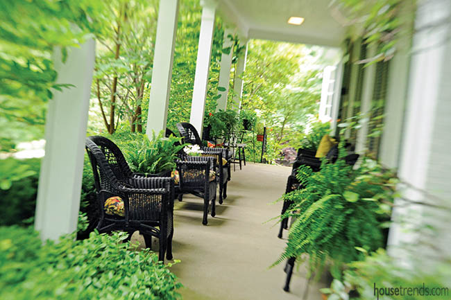 Furniture adds seating options to a front porch
