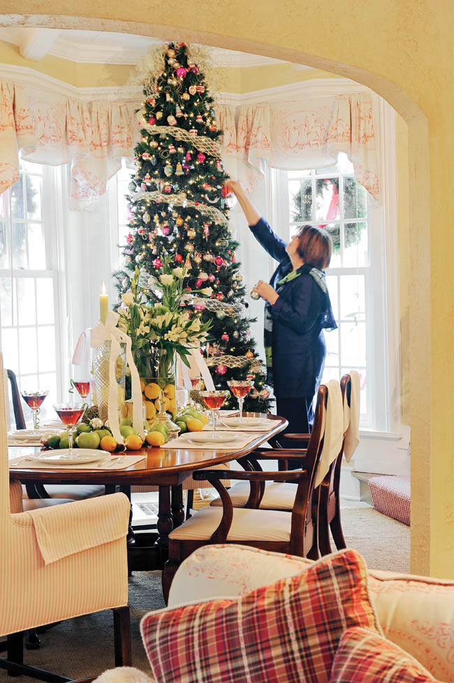 Dining room gets an extra holiday accessory
