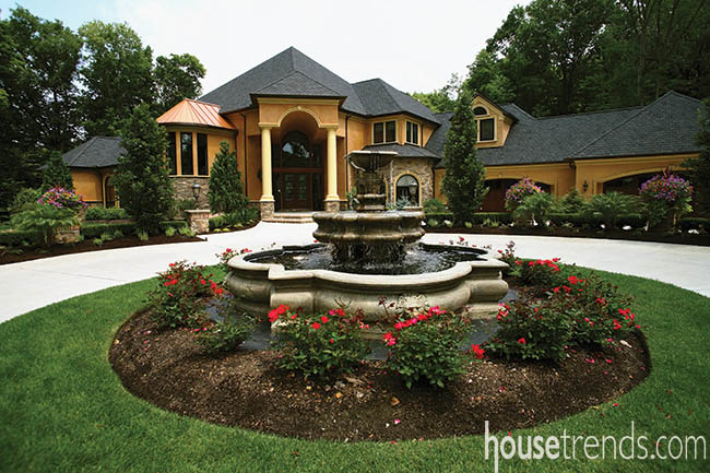 Landscaping contributes to a formal feel