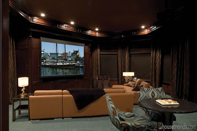 Home theater with cozy furniture