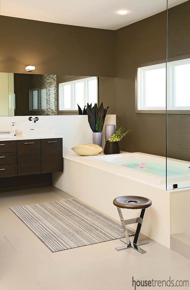 Bathroom design creates a soothing atmosphere