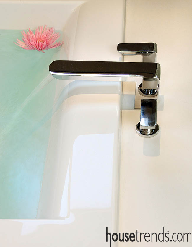 Faucet reflects a bathroom design