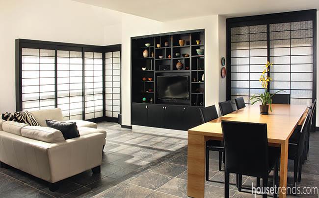 Living room embraces a minimalistic design