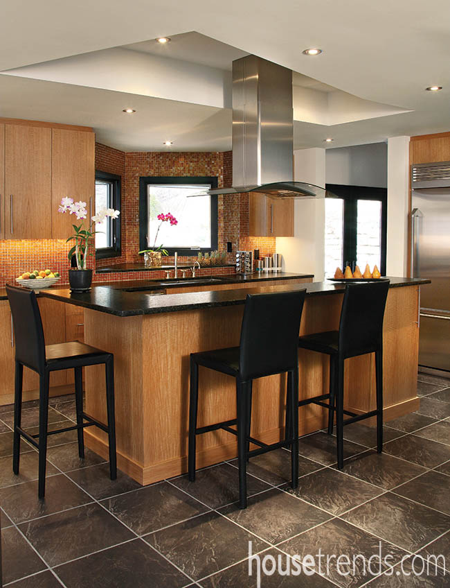Kitchen backsplash contrasts with nearby countertop