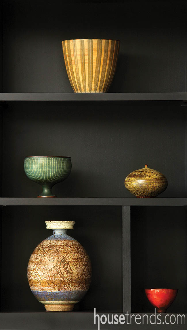 Vases add splashes of color to this interior