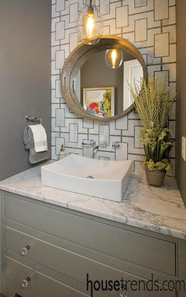 Tile backsplash creates an eye-catching backdrop