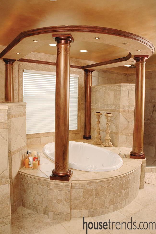 Bathroom design highlights a bathtub
