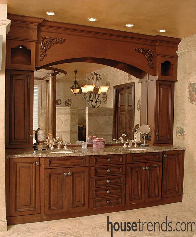 Recessed lighting keeps a bathroom functional