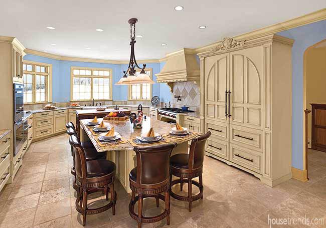 Cabinetry hides kitchen appliances