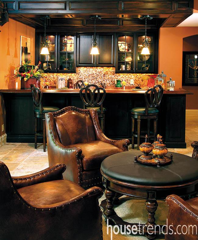 Comfortbale bar stools top off a bar design