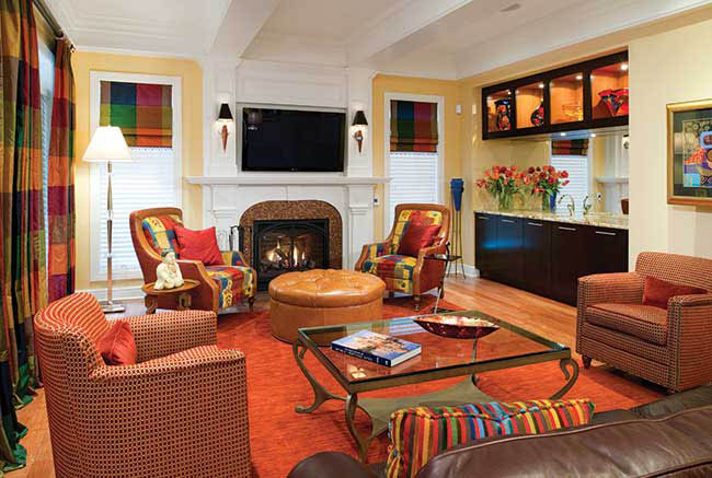 Television blends into living room decor