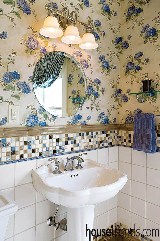 TIle and wallpaper create retro vibe