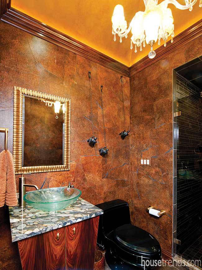 Elegant chandelier illuminates a bathroom