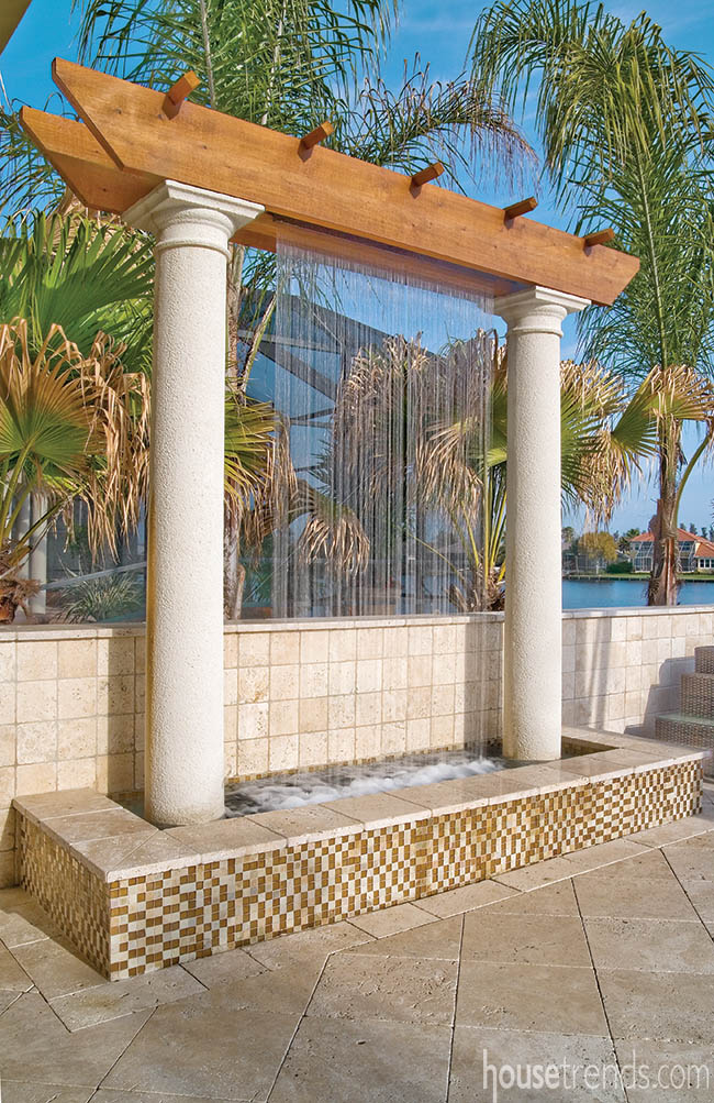 Back yard boasts a unique water feature