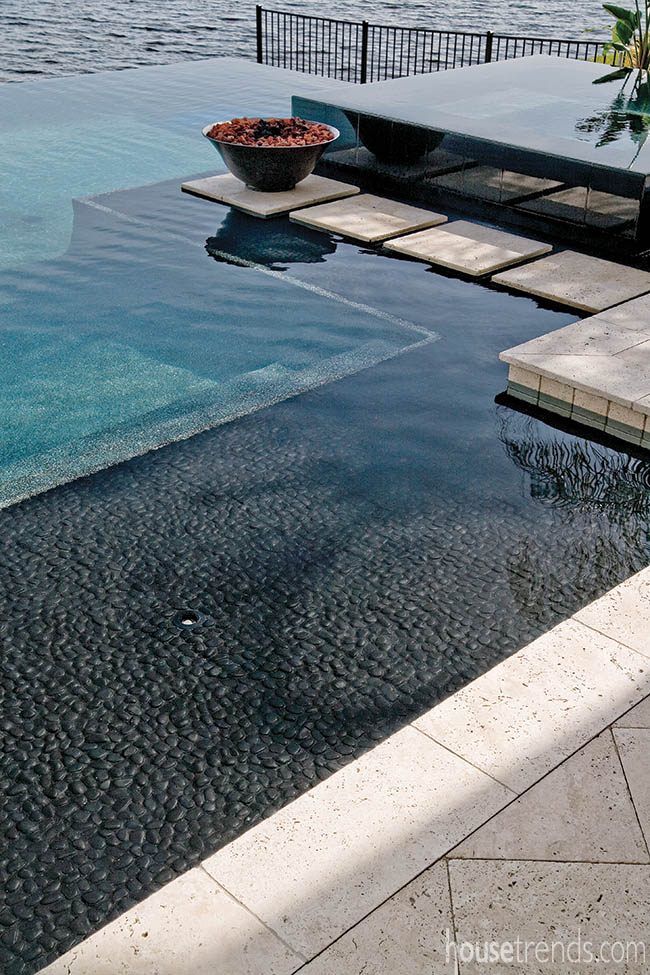 Materials add contrast to a swimming pool