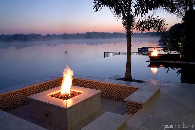 Fire pits add a soft glow to a back yard