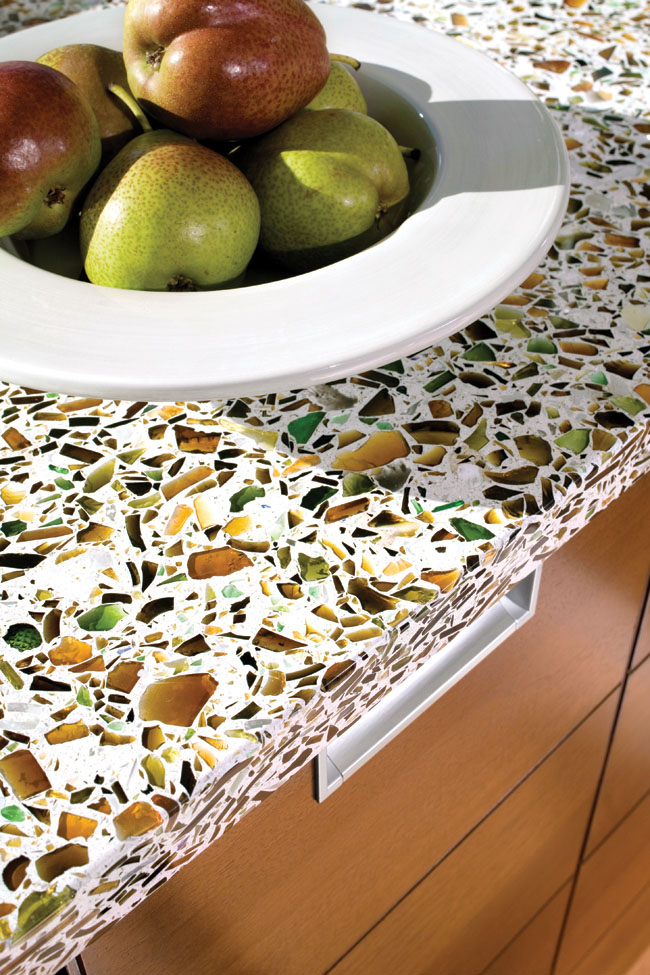 Recycled glass countertops add personality