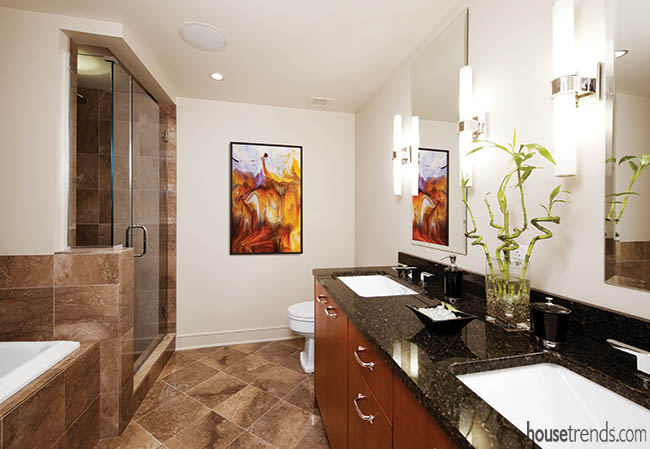 Marble covers a master bath