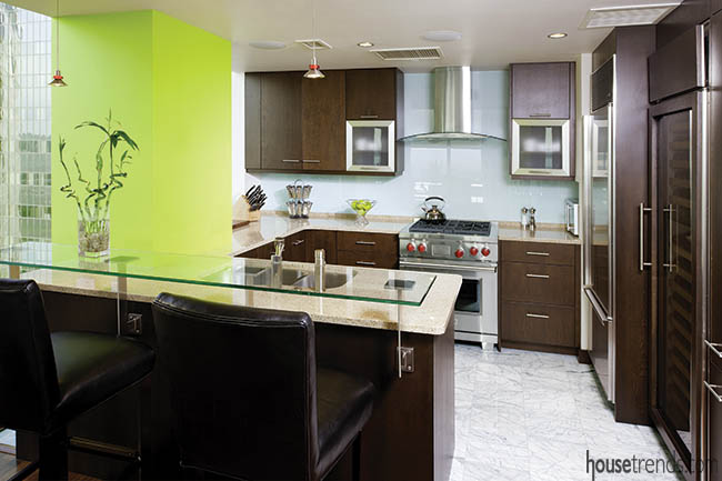 Lime green pillar pops in a kitchen