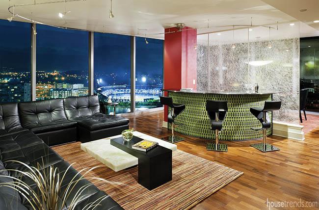 Windows lend gorgeous views to a condo