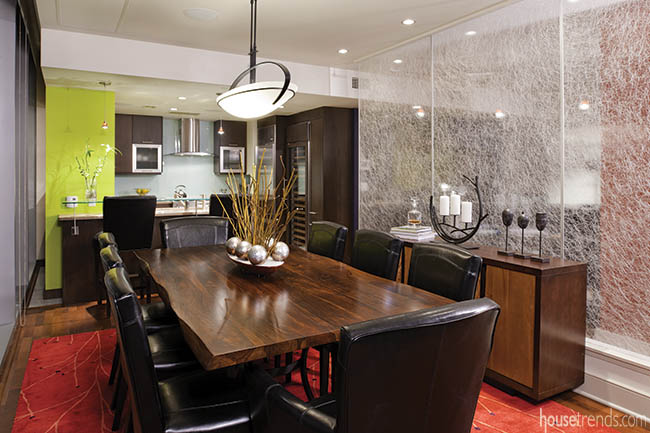 Kitchen flows into a dining room