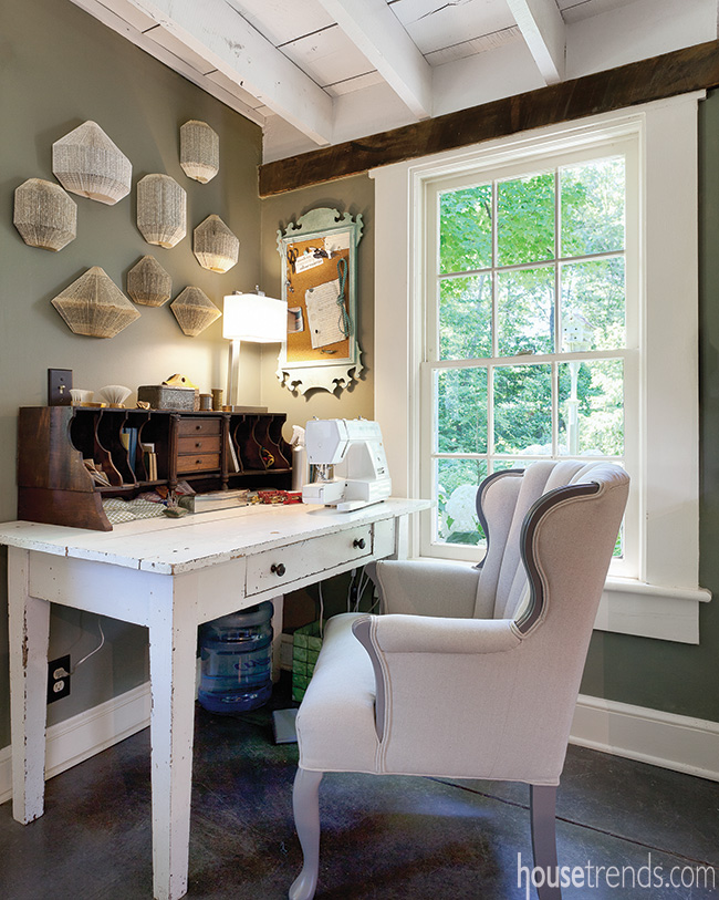 Rustic home office with farmhouse touches