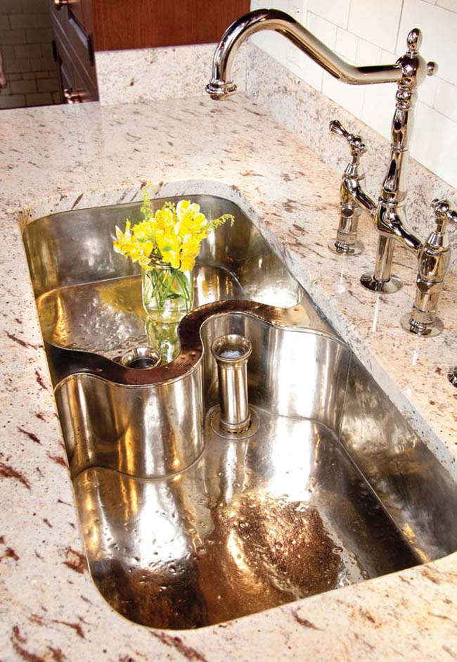 A curvy kitchen sink adds character