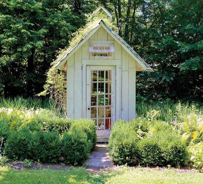 Backyard design includes repurposed structures