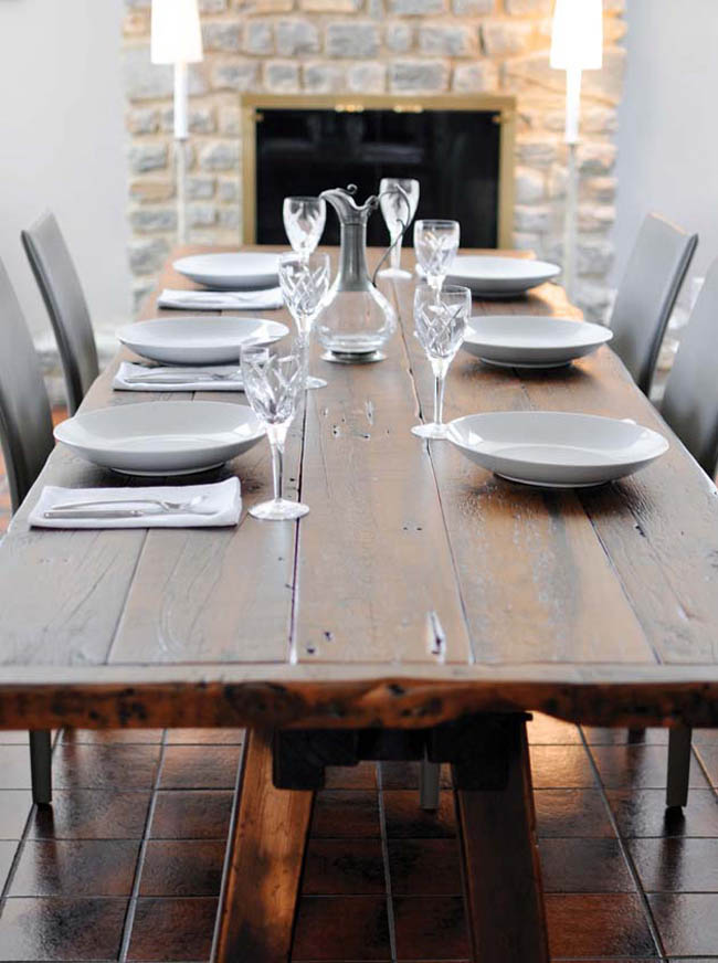 Dining room table fits in with the surrounding decor