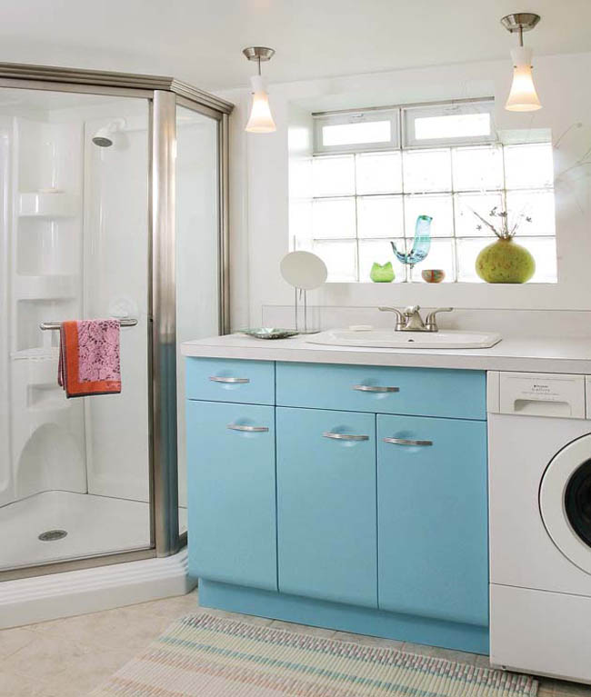Metal kitchen cabinets add some cheer to a laundry room
