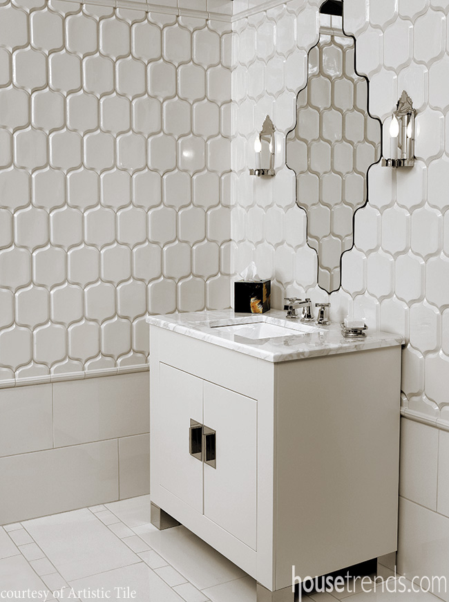Bathroom tile creates a classic look