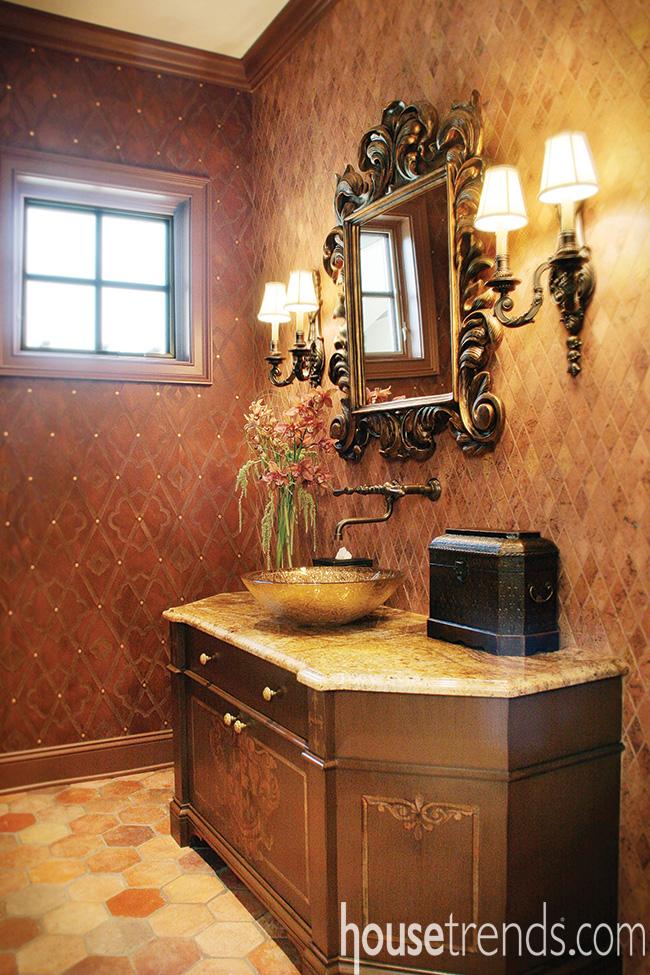 Mirror beefs up a powder room design