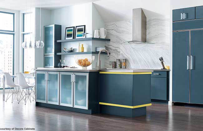 Kitchen cabinetry with strips of yellow