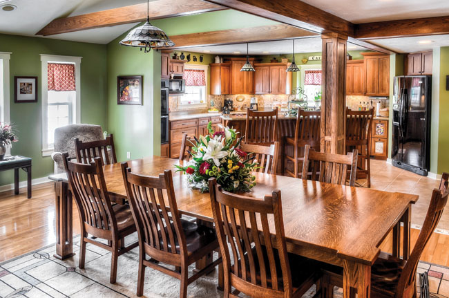 Oak kitchen cabinets help define the space