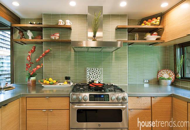 Floating shelves open up a kitchen design
