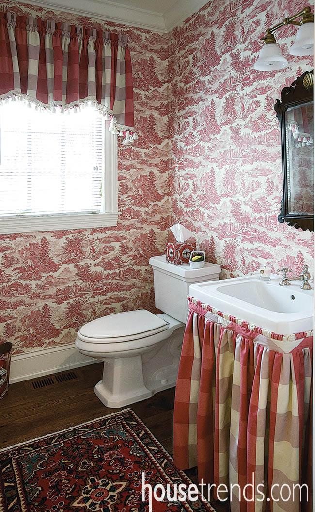Powder room boasts modern conveniences, old fashioned design