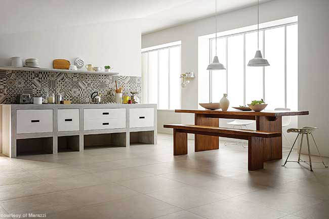 Backsplash shines in a neutral kitchen design