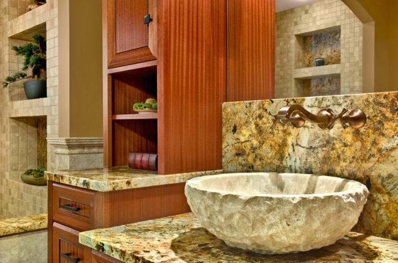 Bathroom sink adds texture