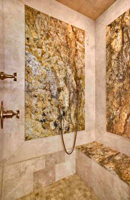 Shower fixtures blend with the bathroom design
