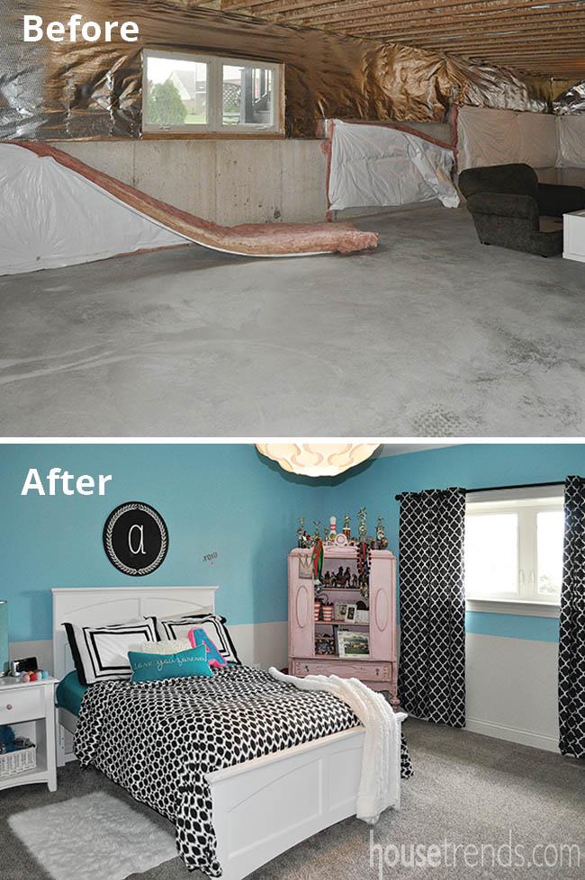 Cheery walls brighten up a basement bedroom
