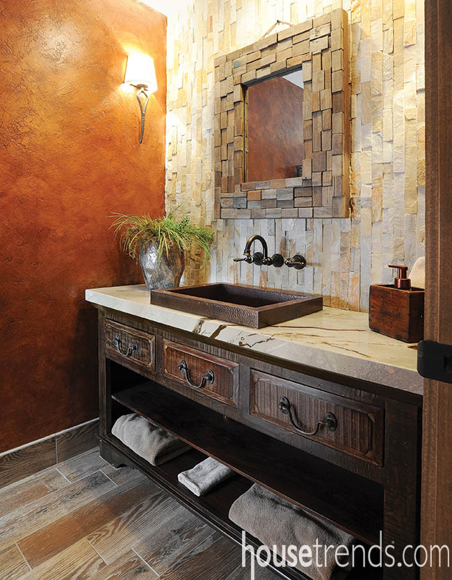 Bathroom design with mixed materials